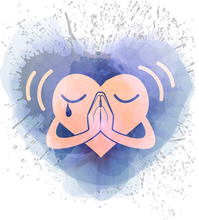 Icon heart that prays in a watercolor background