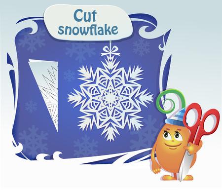 ut: Visual Game for children. Task: Сut snowflake Illustration