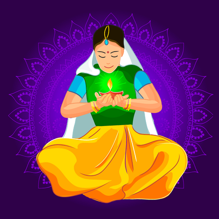 illustration of woman burning diya for Indian festival Diwali Vettoriali