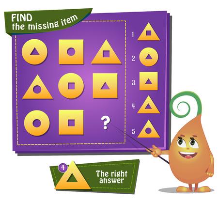 Visual Game for children. Task: find the missing part Stock Illustratie