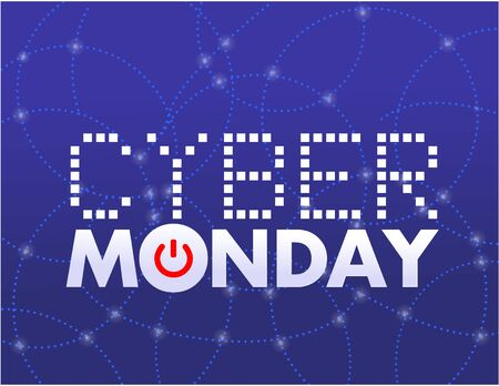 a blue background with text for cyber monday
