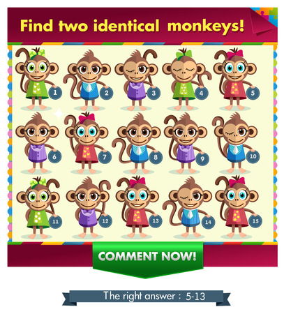 mishmash: Visual Game for children. Task: find two identical monkey! Answer: 5 and 13.