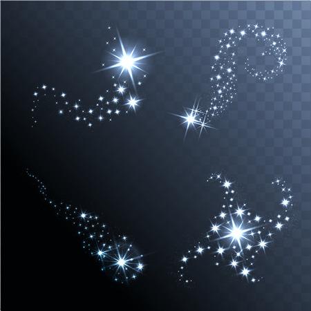 Vector brilhante estrelas, luzes e brilhos. Efeitos transparentes