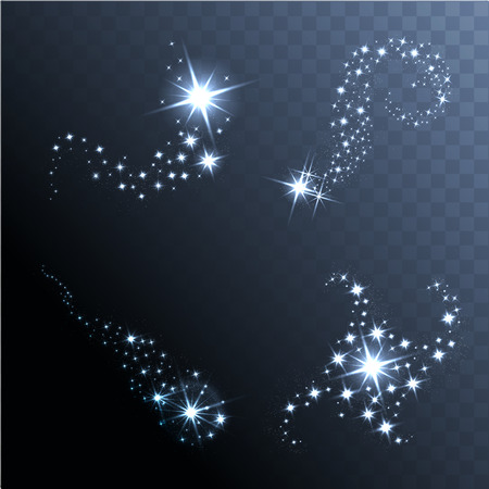 Vector glowing stars, lights and sparkles. Transparent effects Çizim