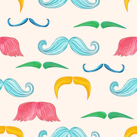 Mustache seamless pattern in vintage style Illustration