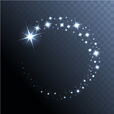 Vector glowing stars, lights and sparkles. Transparent effects Illustration