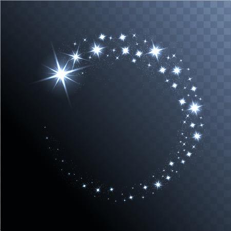 celebra: Vector brillante estrellas, luces y destellos. Efectos transparentes