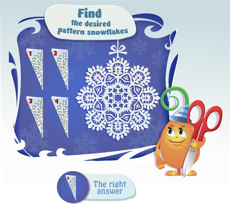 desired: Visual Game for children. Task: Find the desired pattern snowflake Illustration