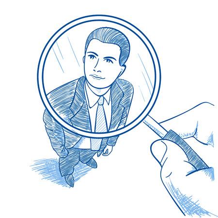 Zoom Vergrootglas Picking Zakenpersoon Kandidaat Stock Illustratie