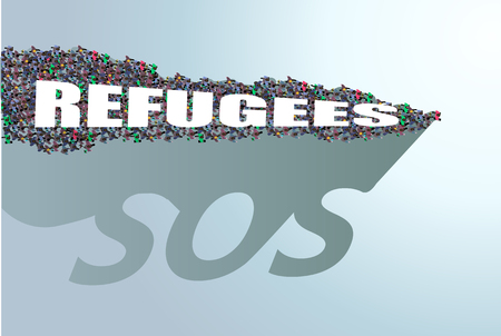 Refugees need help. The shadow falls from the crowds SOS