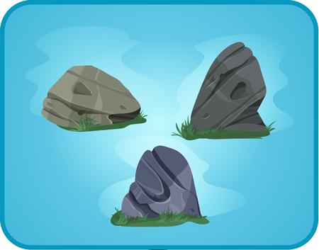 Set of cartoon vector stones