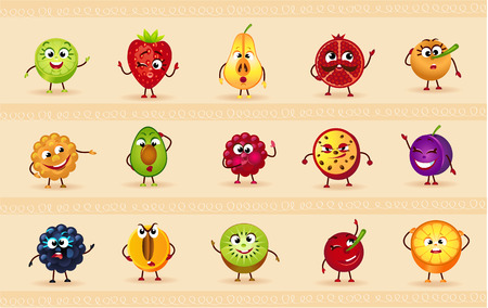 funny: funny icons of fruits and berries Illustration