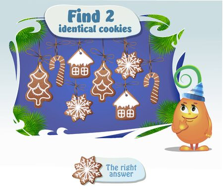 identical: Visual Game for children. Task: Find 2 identical cookies