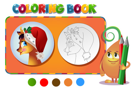 clip art draw: Coloring book   Reindeer in Christmas hat