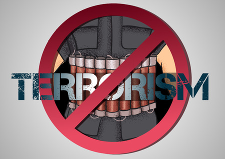 syria peace: poster against terrorism with a man with a belt shahid Illustration
