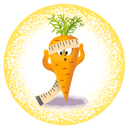 range fruit: Icon carrot with measuring tape
