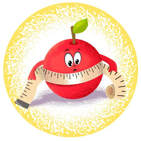 range fruit: Icon apple with measuring tape