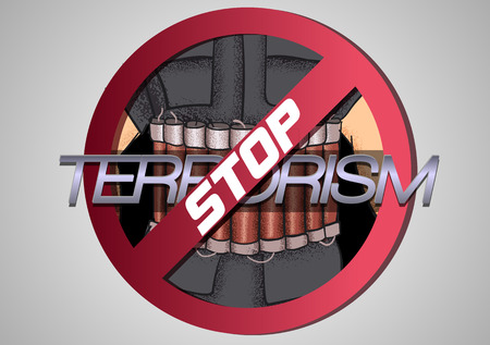 anti war: Stop The Terror. Icon against violence and terror