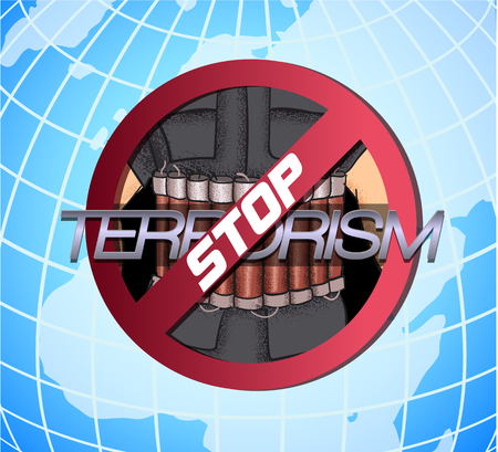 iraq conflict: Stop The Terror. Icon against violence and terror