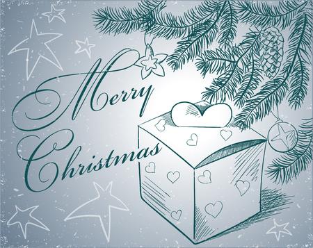 taper: Christmas hand drawn fur tree for xmas design. Illustration