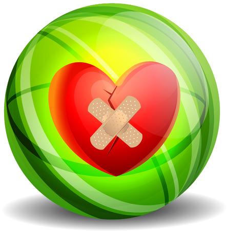 betrayal: Broken heart with plaster vector