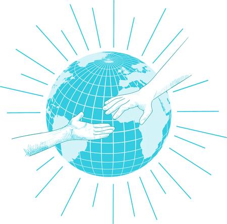 the us: vector sketch of hands for help in blue tones
