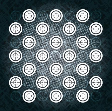 blip: Background in the form of the set target, a symbol of danger and war Illustration