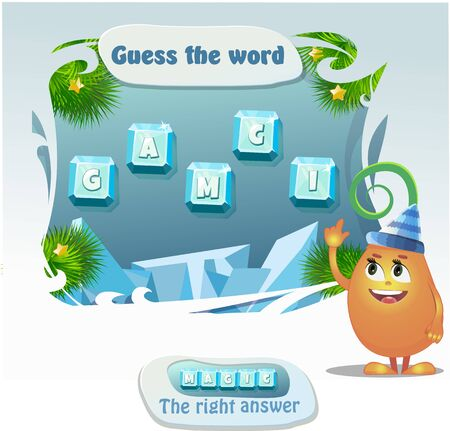 Visual Game for children. Task: guess the word. Right answer- magic