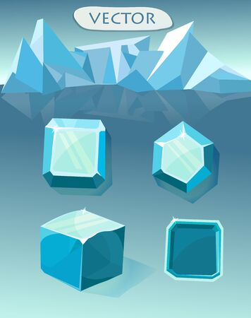 Set of blue crystal ice sign  for ui game