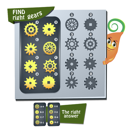 Visual Game for children. Task:  find right gears Stock Illustratie