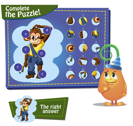 happy new year cartoon: Visual Game for children. Task: complete the pazzle