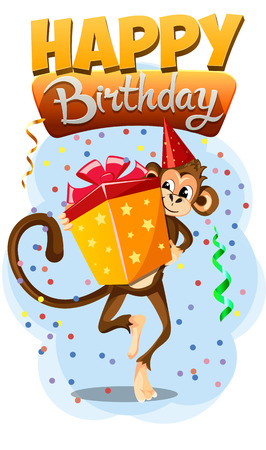 catchy: Greeting card Happy Birthday with monkey gift