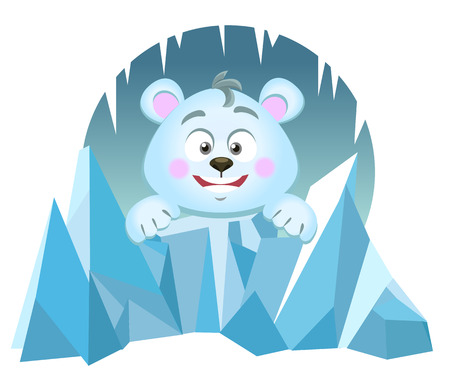 polar bear on ice: Illustration of cute Polar Bear against the background of an ice floe