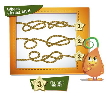 mishmash: Visual Game for children. Task: Where strung knot Illustration