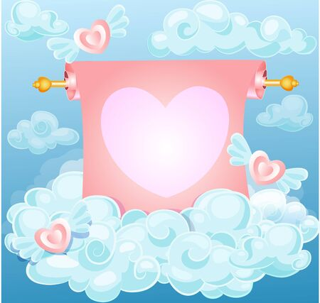 love card: greeting card, invitation in blue and pink