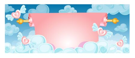 love wallpaper: banner in the form of a scroll in the clouds