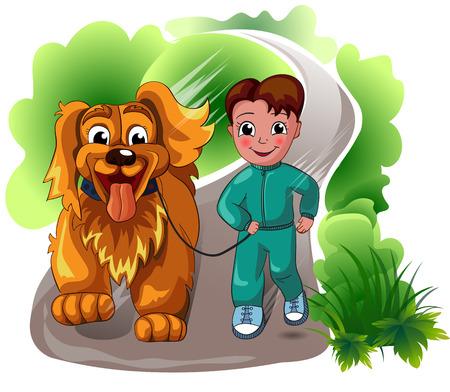 stroll: boy with a dog for a walk Illustration