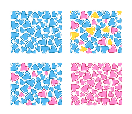 baby blue: Ornamental seamless pattern with hearts. Light blue and pink background. It can be used for wallpaper, pattern fills, web page, surface textures, decoration for bags and clothes.
