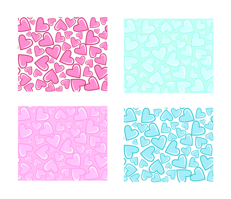 tender: Ornamental seamless pattern with hearts. Light blue and pink background. It can be used for wallpaper, pattern fills, web page, surface textures, decoration for bags and clothes.