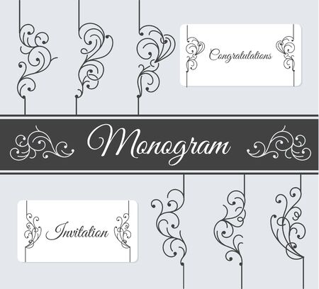 floral border: Delicate Ornaments simple and graceful monochrome monogram design elements. Calligraphic design elements.
