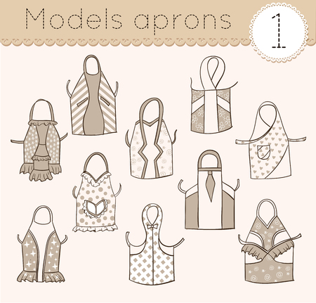 kitchen aprons: set of kitchen aprons, various models sketch