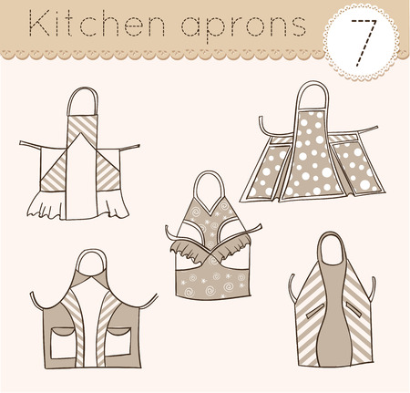 kitchen aprons: set of kitchen aprons, sketch various models