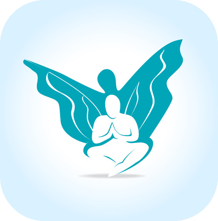 freedom, awakening concept  as a human silhouette with wings Stock Illustratie