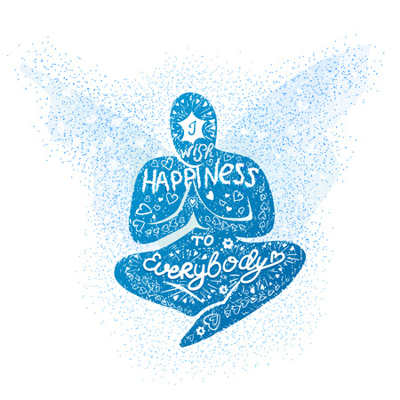 Vector illustratie met de hand getekende inscriptie-wens ik geluk voor iedereen, als een man van gebed, meditatie, met een wens van geluk. Creative typografie poster.