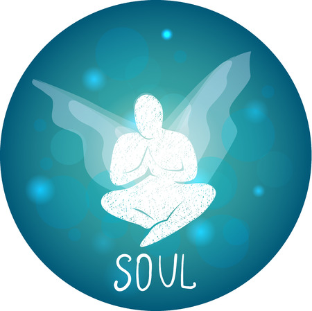 the soul: soul concept  as a human silhouette with butterfly wings