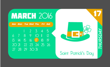 march 17: Calendar for each day on March 17. Holiday - St Patricks Day. In the style of a modern retro