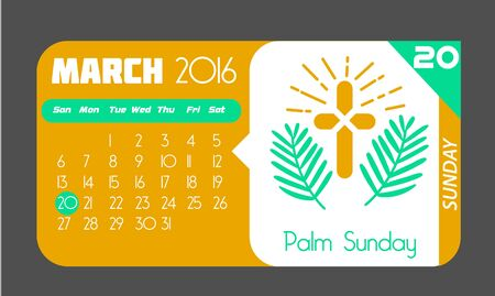 sunday: Calendar for each day on March 20. Holiday - palm Sunday. In the style of a modern retro