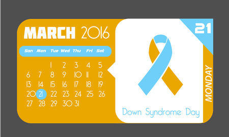 Calendar for each day on March 21. Holiday - Down Syndrome Day. In the style of a modern retro