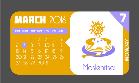 maslenitsa: Calendar for each day on March 7 Holiday - Maslenitsa. In the style of a modern retro