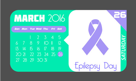 epilepsy: Calendar for each day on March 26. Holiday - epilepsy Day. In the style of a modern retro Illustration